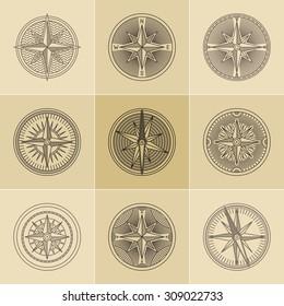 Set of round linear vintage compass logos.  Outline monochrome stamp navigation brand design.