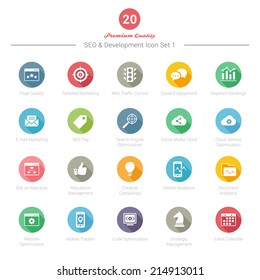 Set of Round Long Shadow SEO and Development icons Set 1 Vector Illustration