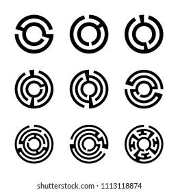 Set of round maze icons isolated on background