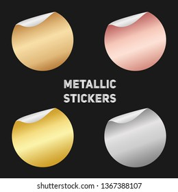 Set of round metallic stickers with a folded edges. Paper circles of bright modern rose gold, gold, bronze, silver gradient. Blank templates. Empty mockup of tags with a realistic textures.