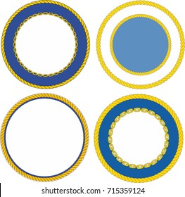 Set of round naval emblem crest templates
