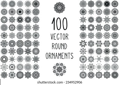 Set Round Ornament Pattern. Snowflakes. Vintage decorative elements. Hand drawn background. Islam, Arabic, Indian, ottoman motifs.