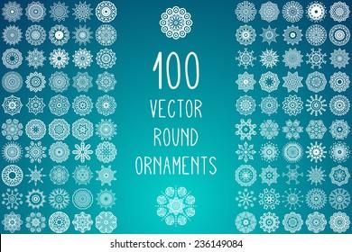 Set Round Ornament Pattern. Snowflakes. Vintage decorative elements. Hand drawn background. Islam, Arabic, Indian, ottoman motifs.