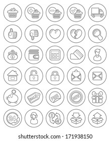 Set of round outline shopping icons