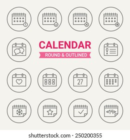Set of round and outlined calendar icons. Important Date, Event, Reminder, Business Plan, Dead Line, Party, Valentine's Day, Birthday, Winter, Date, Christmas, Event. Perfect for web pages