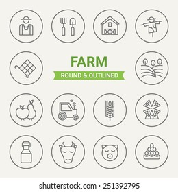 Set of round and outlined farm icons. Farmer, Shovel and Pitchfork, Barn, Scarecrow, Harvest, Field, Fruit, Tractor, Cereals, Windmill, Milk, Cow, Pig, Eggs. Perfect for web pages, mobile applications