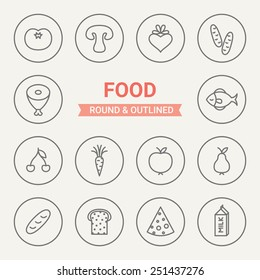 Set of round and outlined food icons. Tomato, Mushroom, Beet, Cucumber, Meat, Fish, Cherry, Carrot, Apple, Pear, Loaf, Bread, Cheese, Milk. Perfect for web pages, mobile applications, print production