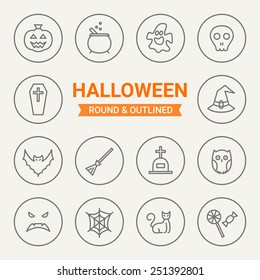 Set of round and outlined Halloween icons. Pumpkin, Potion, Ghost, Skull, Coffin, Bell Witch, Bat, Broom, Grave, Owl, Web, Scary Face, Cat, Candy. Perfect for web pages, mobile applications