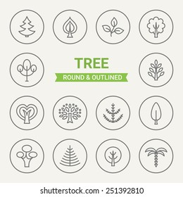 Set of round and outlined tree icons. Fir, Linden, Sprout, Maple, Oak, Spruce, Baobab, Cypress, Poplar, Ash Tree, Palm. Perfect for web pages, mobile applications, print production