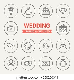Set of round and outlined wedding icons. Bouquet, Wedding Dress, Cake, Diamond, Photo, Gift, Love, Beads, Dove, Champagne, Balloons, Marriage, Love Letter, Wedding Ring. Perfect for web pages