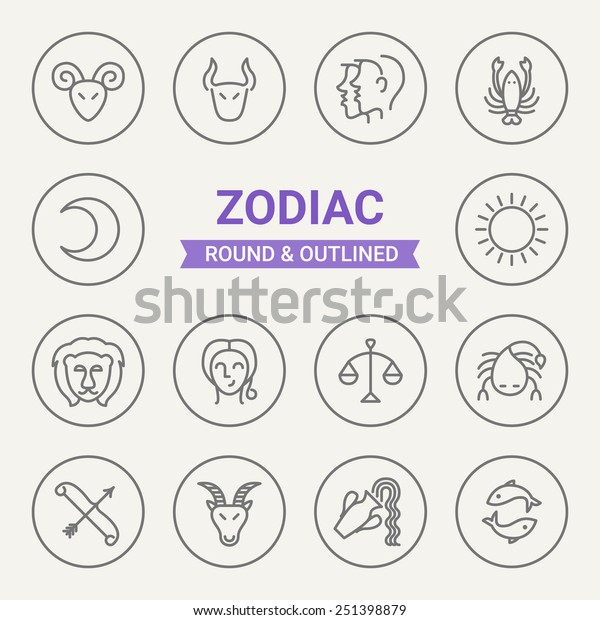 Set Round Outlined Zodiac Icons Aries Stock Vector (Royalty Free