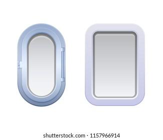 Set of round oval and rectangular windows, portholes. Illuminators on submarine and ship. Metal, with lattice and glass windows on the ship. Metal submarine, warship. Vector illustration isolated.