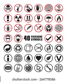 Set of Round Packaging Symbols in Vector Format