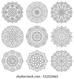 Set with round patterns. Collection of mandalas for coloring page