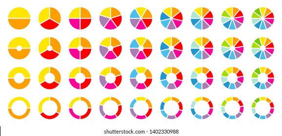 Set Of Round Pie Charts Color