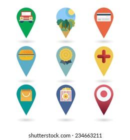 Set of round pointers - car, transport, cinema, mall, park, bank, shop