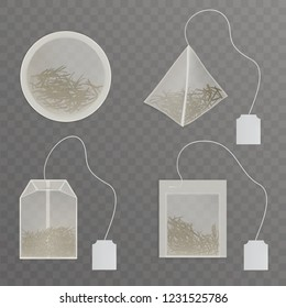 Set round, rectangle, square, pyramid shaped tea bags with blank, white label tag and green tea leaves inside 3d realistic vector illustration, teabag product mockup isolated on transparent background
