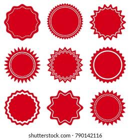 Set of round red labels. Vector illustration