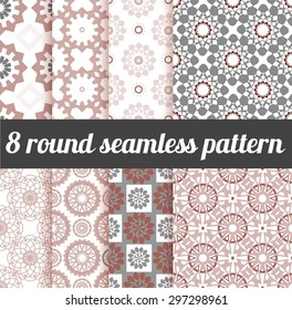 set of round seamless patterns. For textile design