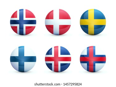 Set of round shiny spheres with national flags of Scandinavian countries. Norwegian, Swedish and Danish flags isolated white background. These emblems are good for use in applications and on websites.