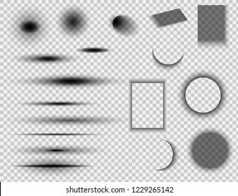 Set of round and square shadow effects.Vector shadows isolated.  Vector illustration EPS10