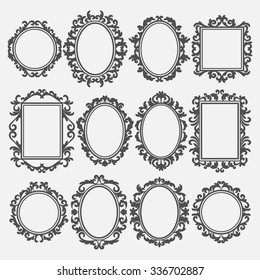 set of round and square vintage frames, design elements