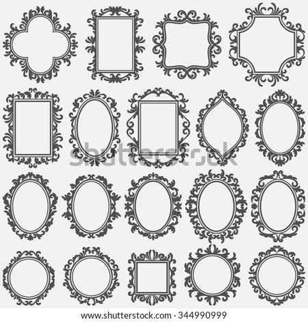 Black vintage frame design Clip Art Set Of Round And Square Vintage Frames Design Elements Shutterstock Set Round Square Vintage Frames Design Stock Vector royalty Free