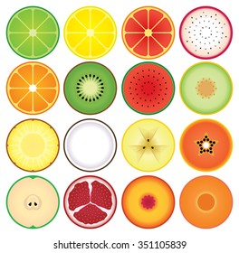 Set of round summer fruit slice icons in a row