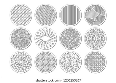 Set round template for cutting. Abstract line, geometric pattern. Laser cut. Set ratio 1:2. Vector illustration.