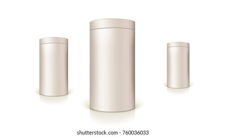 Set of round tins of packaging for bulk products and canned products. Container cylindrical shaped, Icon, template of round tin cans. Vector 3D illustration isolated on white background.
