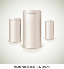 Set of round tins, packaging. Container cylindrical shaped, vector illustration.