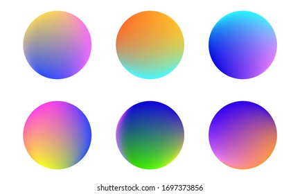 Set of round Vector Gradient. Multicolor Sphere. Modern abstract background texture. Template for design. Isolated objects