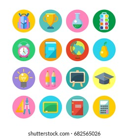 Set round vector icons. School supplies.