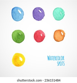 A set of round watercolor spots for your design. Sketch bubbles