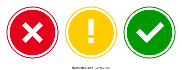Set of round x mark, exclamation point, check mark icons, buttons isolated on white background.