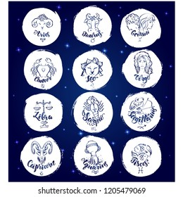 Set of round zodiac signs .Vector illustration with hand drawn lettering