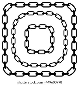 Set of rounded corner chains on white.