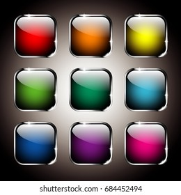 Set of rounded square backgrounds with a silver frame, with space for your text. Vector illustration.