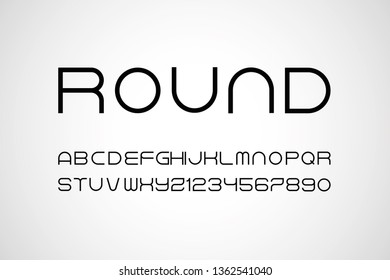 set of rounded style alphabet letters and numbers