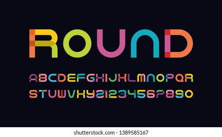 set of rounded style color alphabet letters and numbers