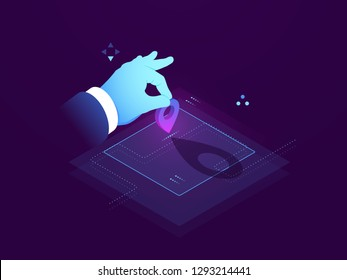 Set route, address destination, GPS navigator pin blue color map, set a mark on map isometric view, flat vector illustration dark neon