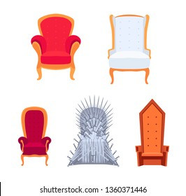 Set of royal armchairs or thrones cartoon style, vector illustration isolated on white background. Antique and medieval empty chairs collection, classic style objects of furniture