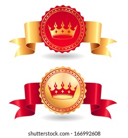 Set of royal award  labels red and gold