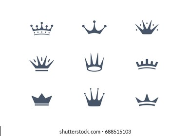 Set of royal crowns, icons and logos. Isolated luxury logo for branding, label, hotel, graphic design. Collection logos of crowns for royal persons, king, queen, princess. Vector Illustration