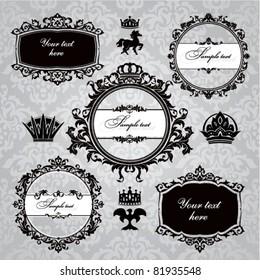 set of royal  frame and vintage design elements