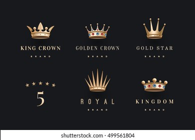 Set of royal gold crowns, icons and logos. Isolated luxury logo for branding, label, hotel, graphic design. Collection logos of crowns for royal persons, king, queen, princess. Vector Illustration