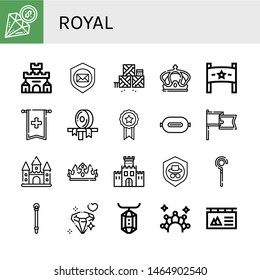 Set of royal icons such as Diamond, Fortress, Shield, Defense, Crown, Banner, Ribbon, P t, Castle, Fortification, Sceptre, Gem , royal