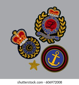Set of royal patches in vector. Embroidery imitation.