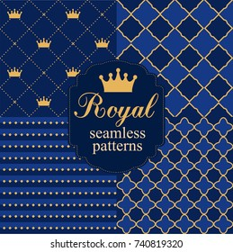 Set of royal seamless vector patterns with crowns. Can be used for prince party invitation . Navy blue and gold.