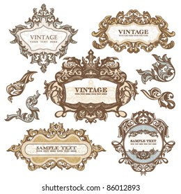 set of royal vintage frames isolated on white